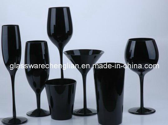 Solid Black Color Glassware Set