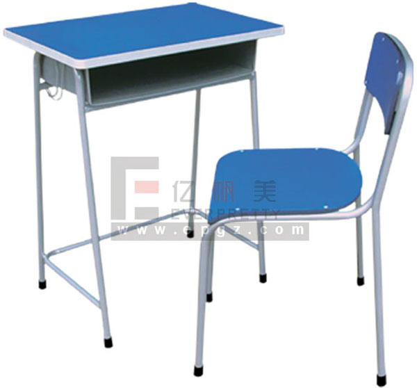 China cheap wood school single student desk and chair for School furniture from china