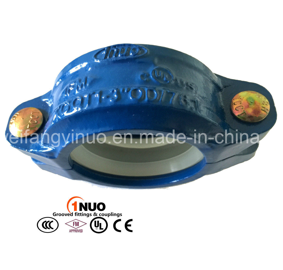 FM/UL Ductile Iron Blue Color Grooved Coupling for Water Treatment/ Irrigation