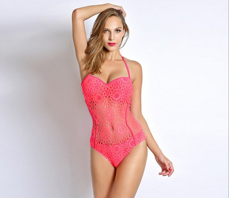 Newest Sex Jersey Hollow out Pink Overalls Briefs Slim Swimwear