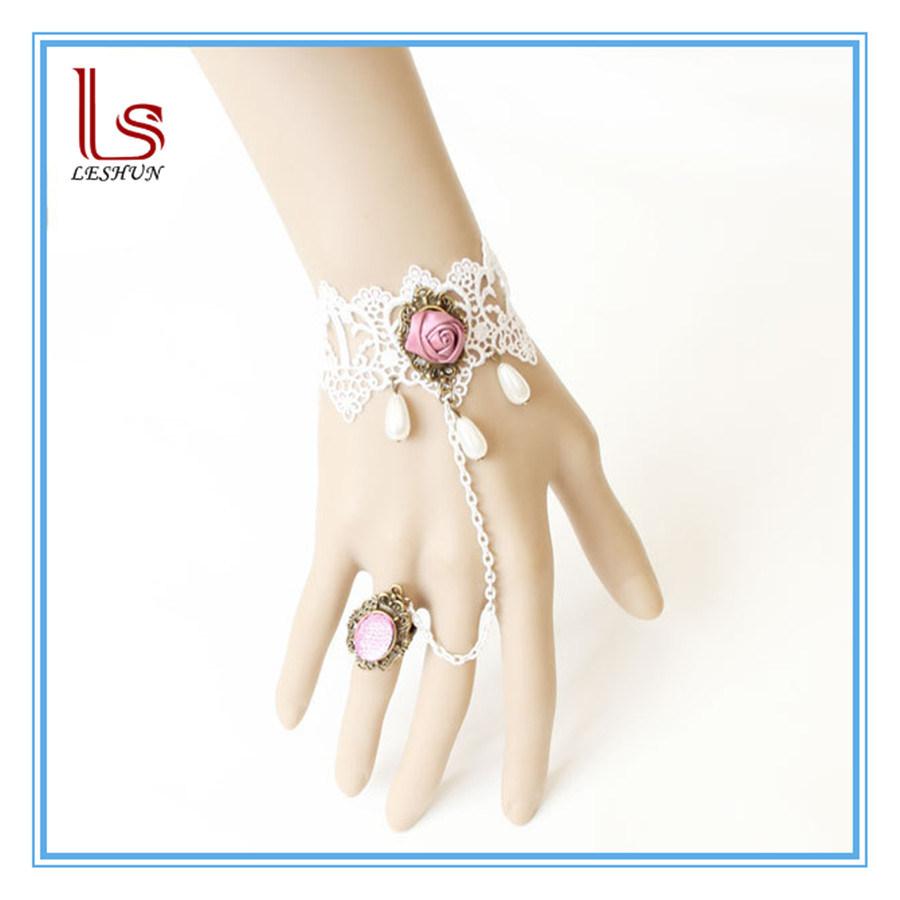 Vintage Bride Bridesmaid Women Lace Bracelets with Rings