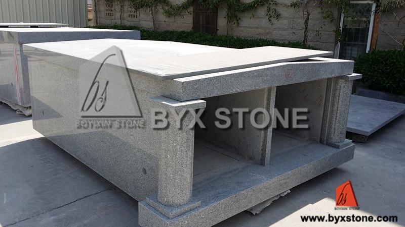 Granite Monument Mausoleum / Cemetery Mausoleum with Roman Column