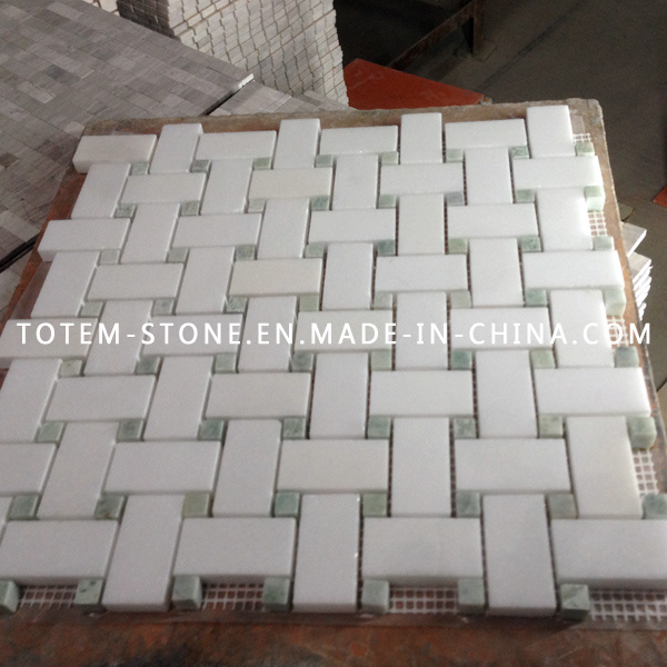 Carrara White Marble Stone Mosaic Floor Tile for Bathroom