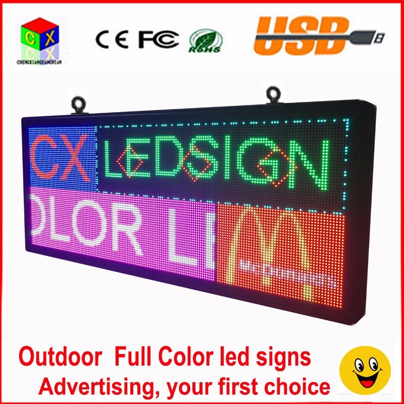 Outdoor P6 Full Color LED Sign 40′′x18′′ Support Scrolling Text LED Advertising Screen / Programmable Image Video LED Display