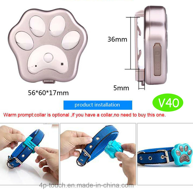 3G Mini IP66 Waterproof Pet GPS Tracker with Collar (V40)