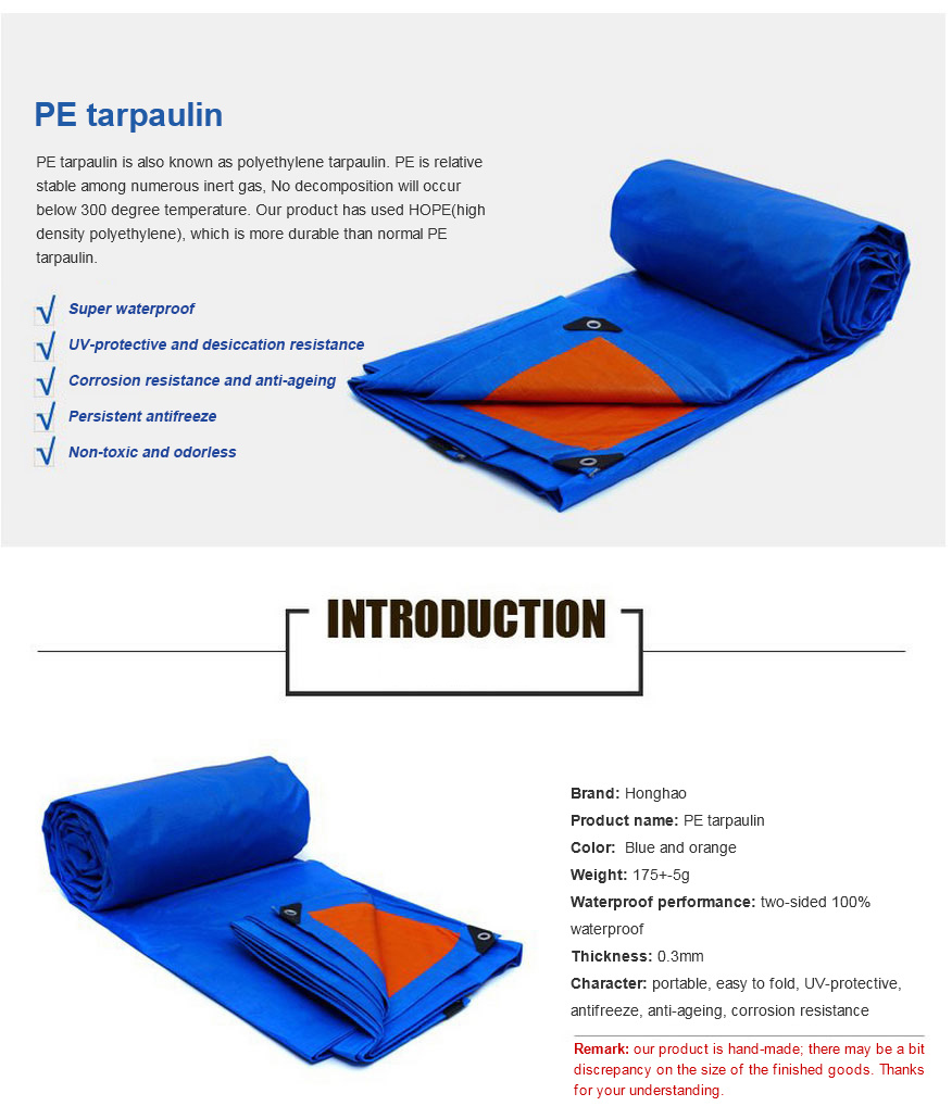 Good Quality PE Coated Tarpaulin/Tarp for Cover/Tent