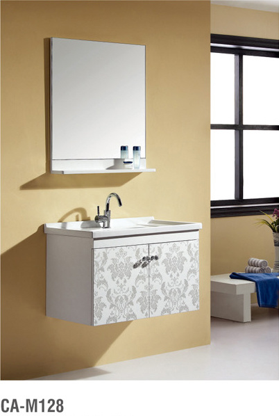 White Modern Solid Wood Bathroom Cabinet Furniture