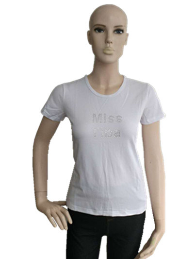 Lady′s T-Shirt Model Fashion Cotton Soft Short Sleeve