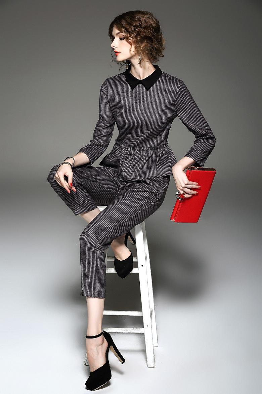Customization Women′s Ol Long-Sleeved Pantsuit Fashion Career Pant Suit Set