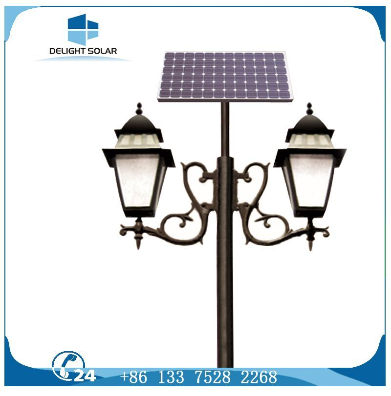 10W 15W Double Arm Solar Outdoor Light Decorative Pole Ce RoHS Solar Garden Light