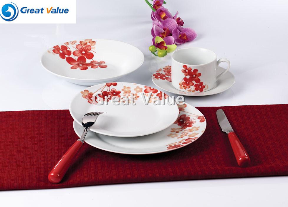 20PCS Porcelain White Dinner Plates