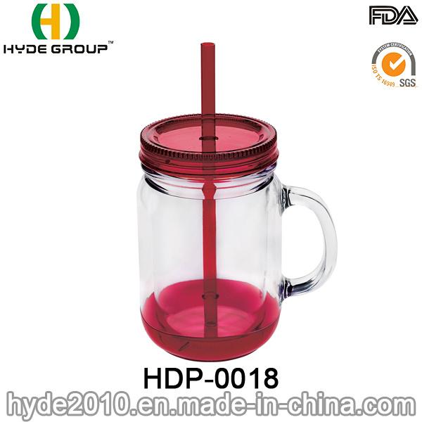 Customized 20oz BPA Free Plastic Mason Jar with Handle (HDP-0018)