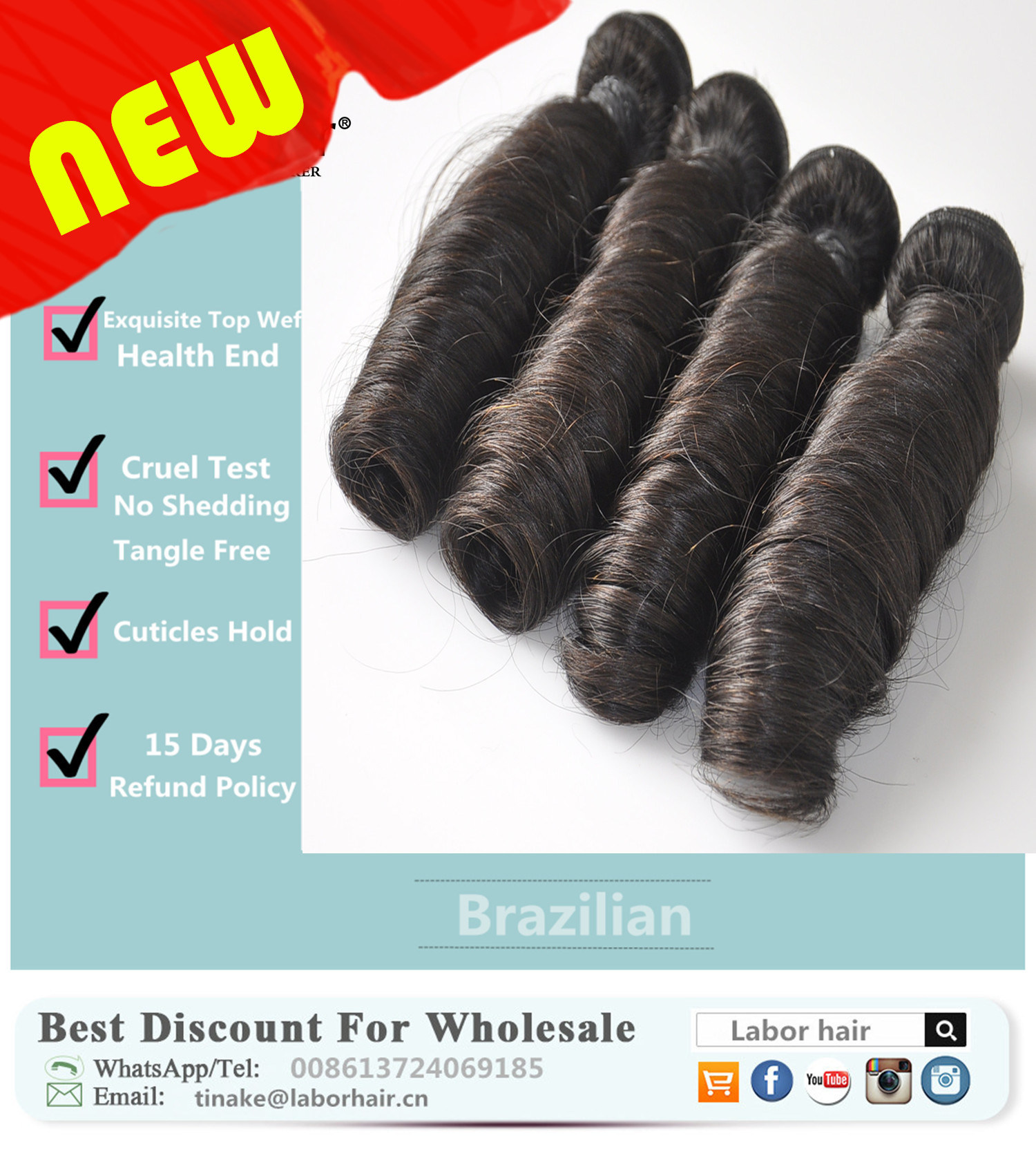 Unprocessed Labor Hair Extension 105g (+/-2g) /Bundle Natural Brazilian Virgin Hair Spring Curl 100% Human Hair Weaves Grade 9A