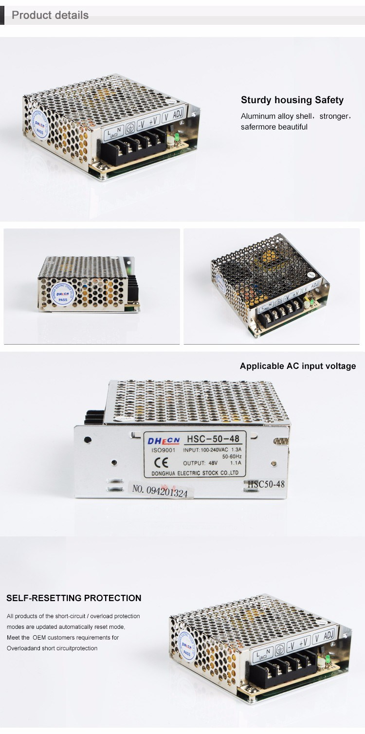 HSC-50 Single Output Switching Power Supply 50W Full AC Range Input From 88 to 264V