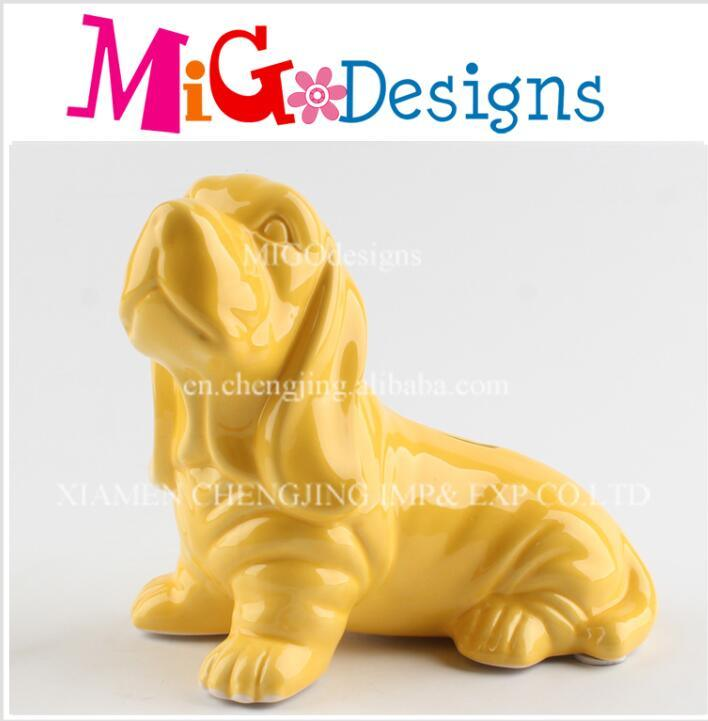 Chinese Concession Pink Stoneware Dog Money Box