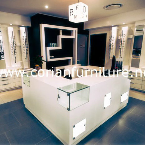 Translucent Corian Acrylic Solid Surface Cosmetic Shop Display Cabinets