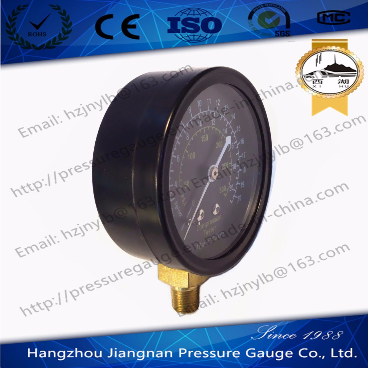 70mm Black Dial General Pressure Gauge for Compression Tester