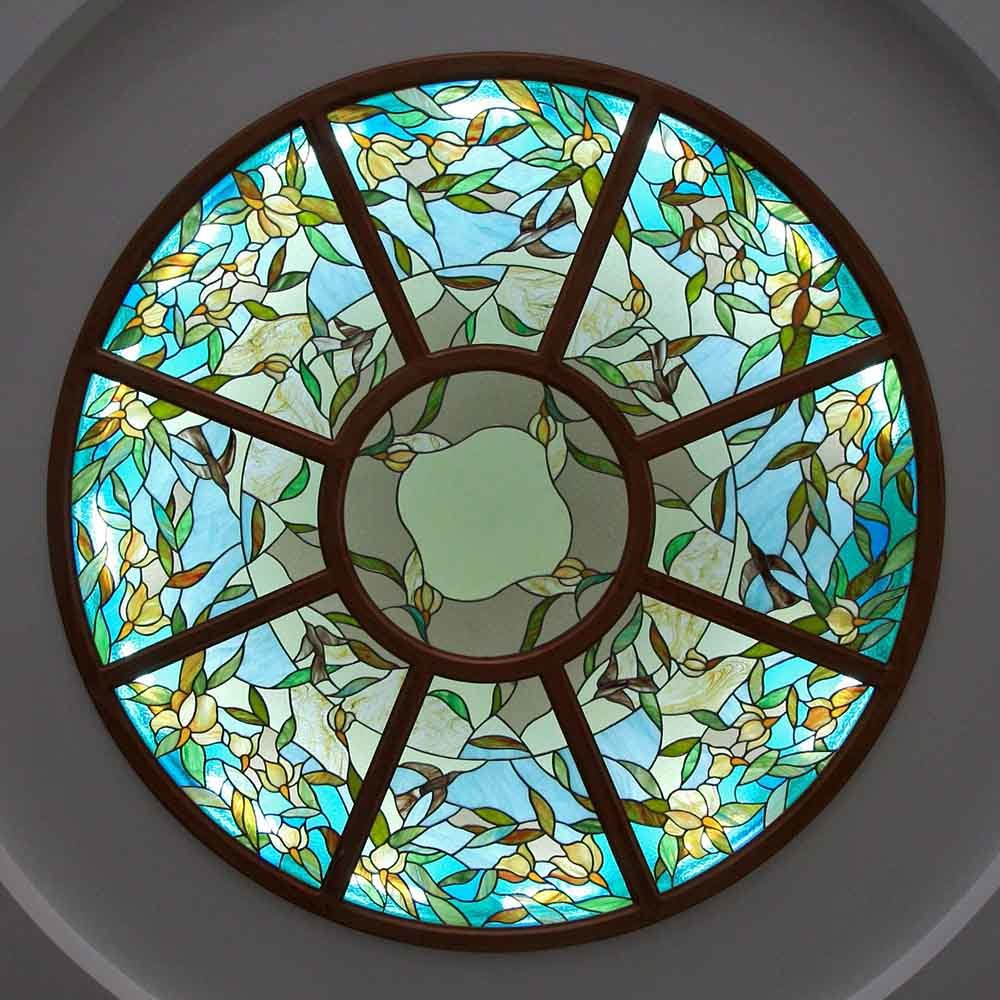 High Quality Materials Exterior Large Suspended Stained Glass Panels ceiling for Home