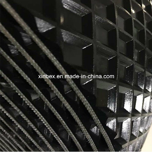 PVC Big Quadrel Pattern Black Conveyor Belt for Wood Process