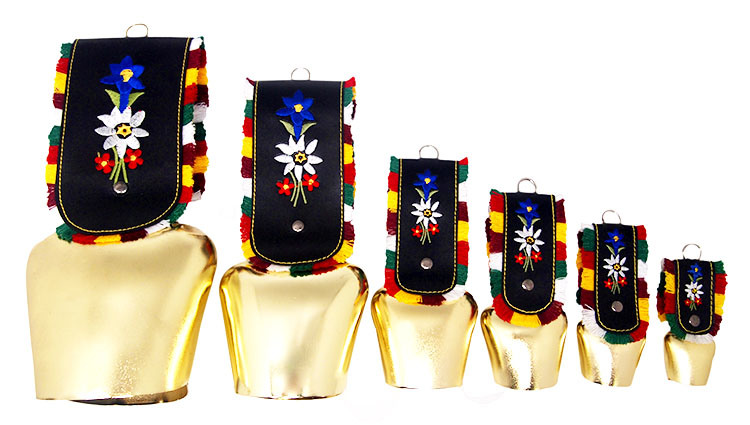 Swiss Cowbells in Various Size Finishing Gold with Strap as Souvenirs Gift