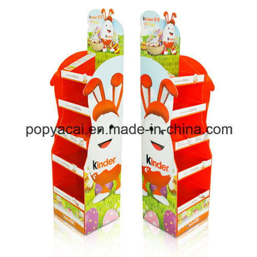 Cardboard Point of Sale Display with 4 Shelves Holding 30kg, Sturdy Cardboard Floor Display Stand