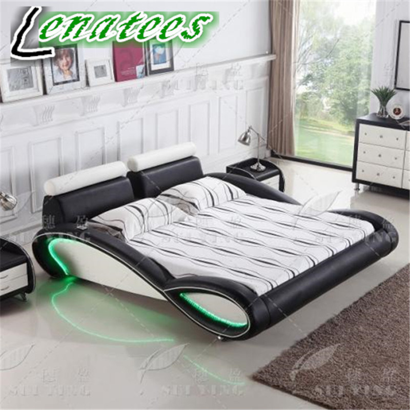 C025 New Designs Leather Bed Bedroom Furniture with LED Lighting