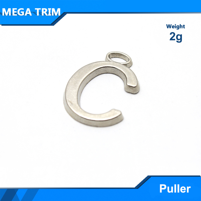 "Nickel Letter ""C"" Metal Zipper Puller"