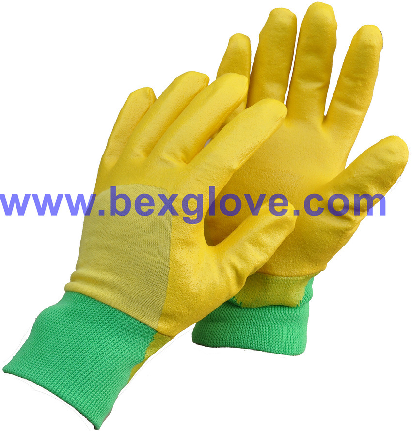 Cotton Interlock Liner, Nitrile Coating, Rough Finish Safety Gloves