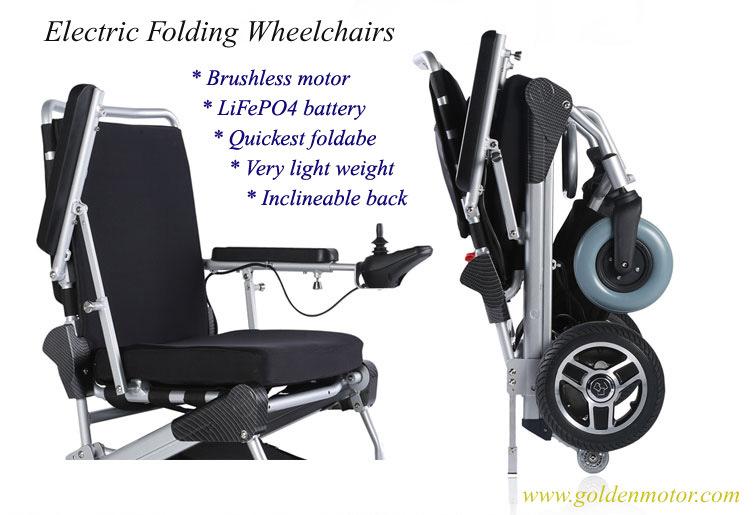 Golden Motor 8′′, 10′′, 12′′e-Throne Brushless Folding Wheelchair /Electric Foldable Wheelchair/Portable Electric Wheelchair for Sale