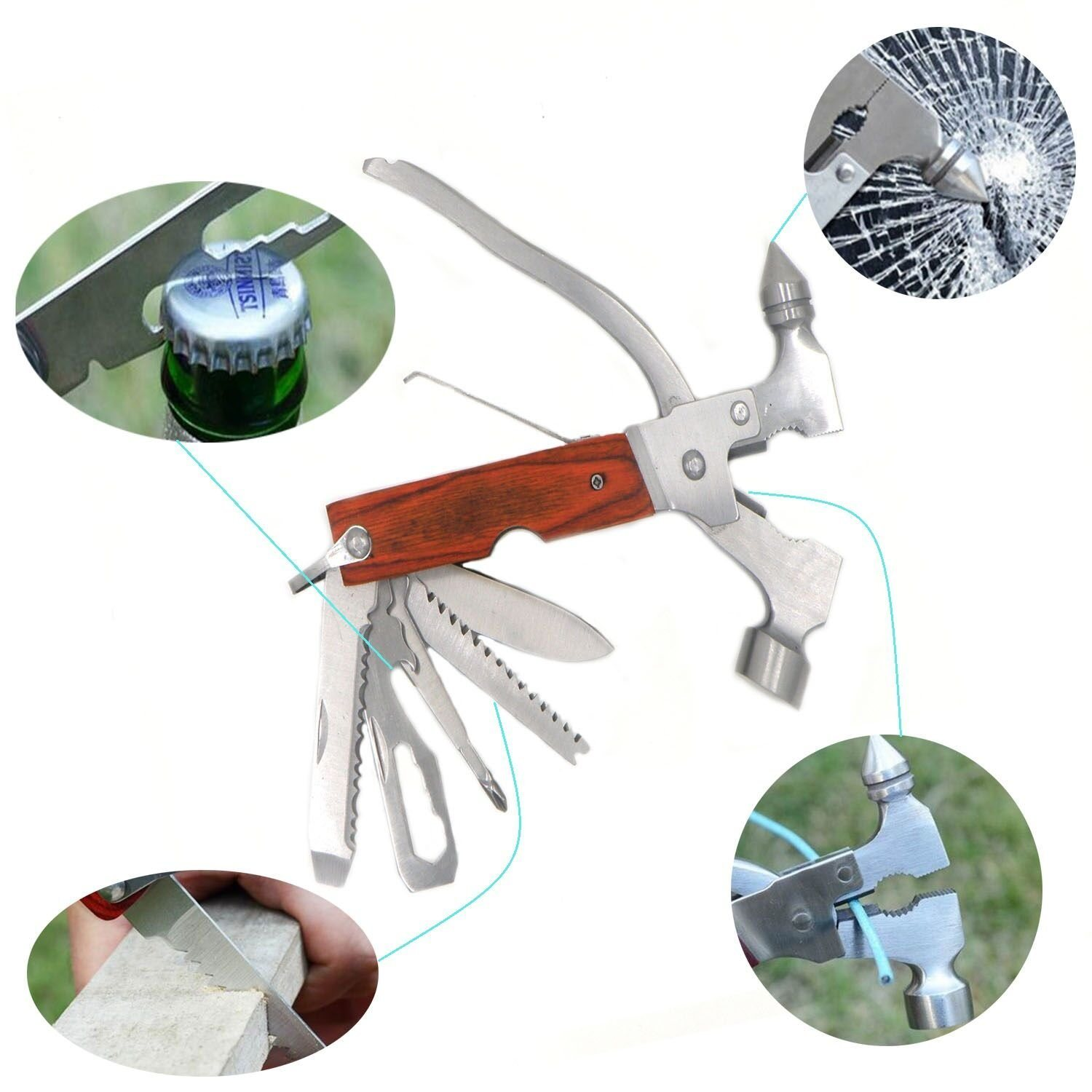 8 in 1 Multi-Function Seat Belt Cutter Tool Stainless Steel Auto Emergency Kit with Safety Hammer