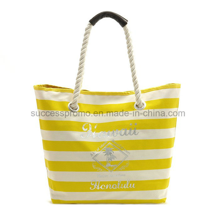 Custom Leisure Striped Canvas Beach Bag with Cotton Rope