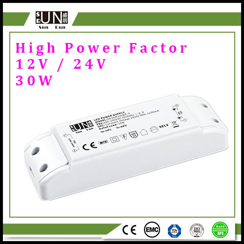 30W 12VDC High Power Factor LED Driver, 30W LED Strips Power Supply, Constant Voltage 12V Power, (PF>0.9) DC12V LED Power Supply