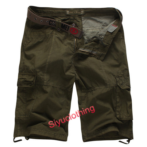 Men Classical Comfortable Loose Cargo Pockets Cotton Shorts (S-1517)