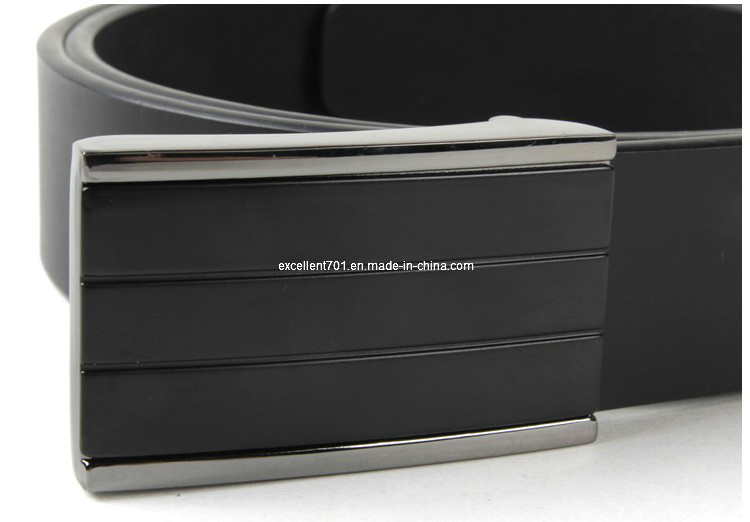 Classic Men′s Leather Belt with Plain Buckle (EU2810-35)
