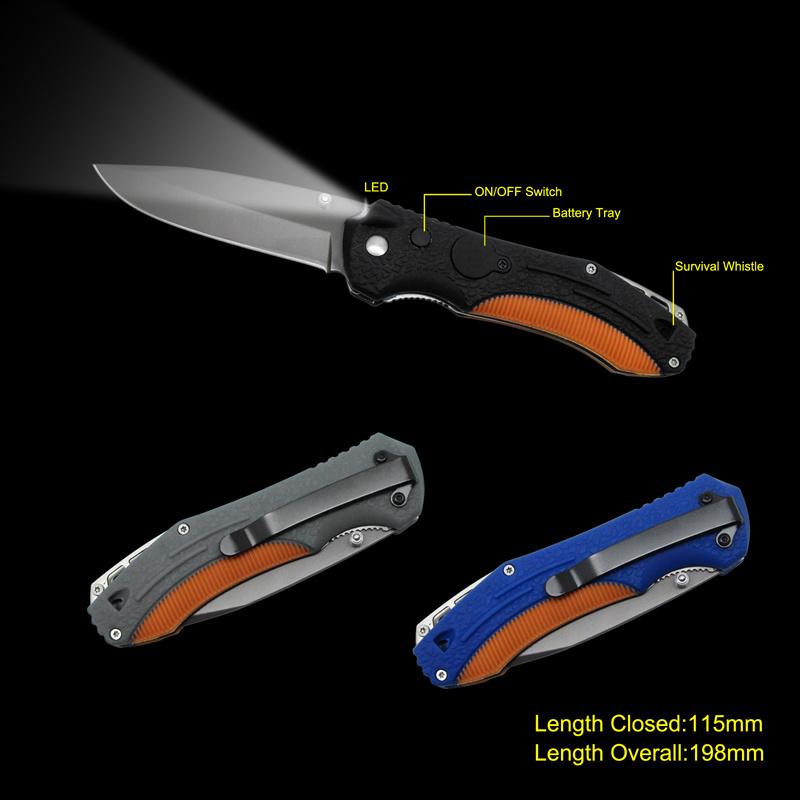 Folding Knife with LED Flashlight (#3723)