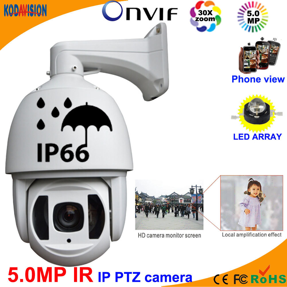 200m IR 5.0 Megapixel IP High Speed Dome PTZ Camera