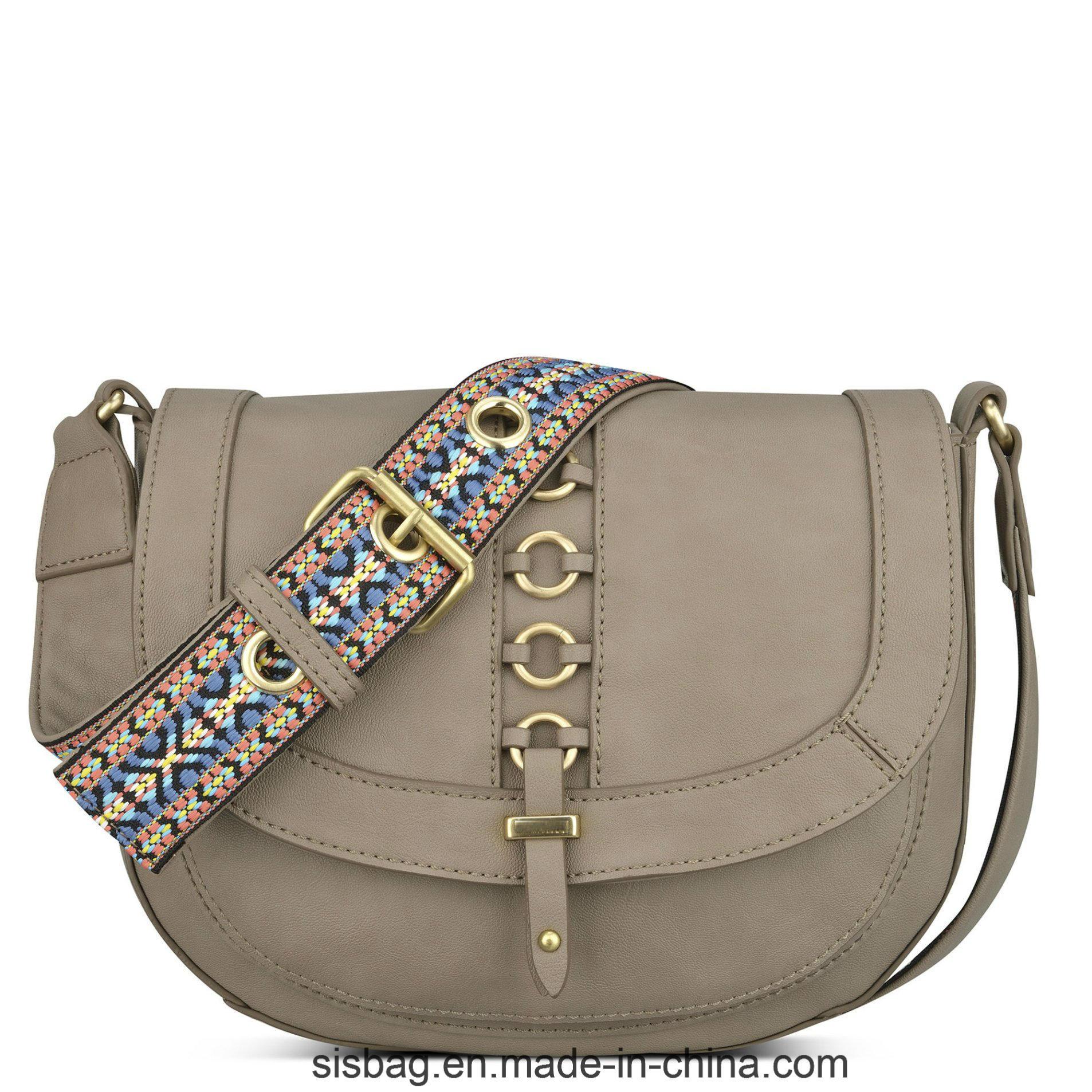 Colorful Straps Saddle Bag Sticthing Cross Body Bag