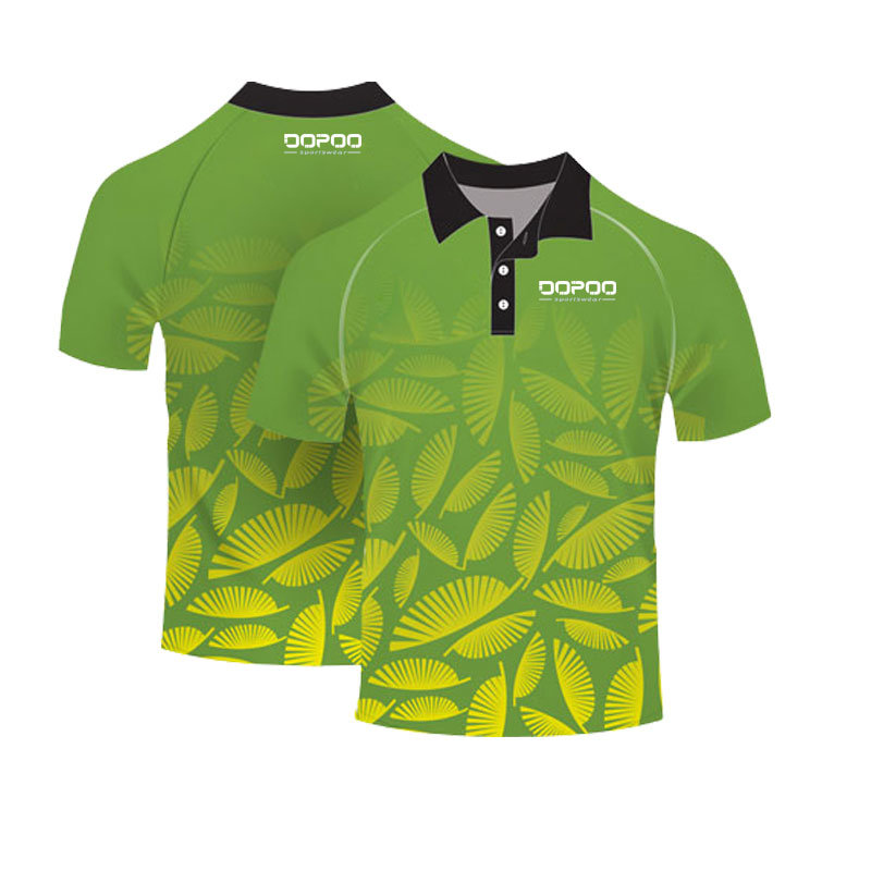 Green Color Custom Design Polo Shirt with Sublimation Printing