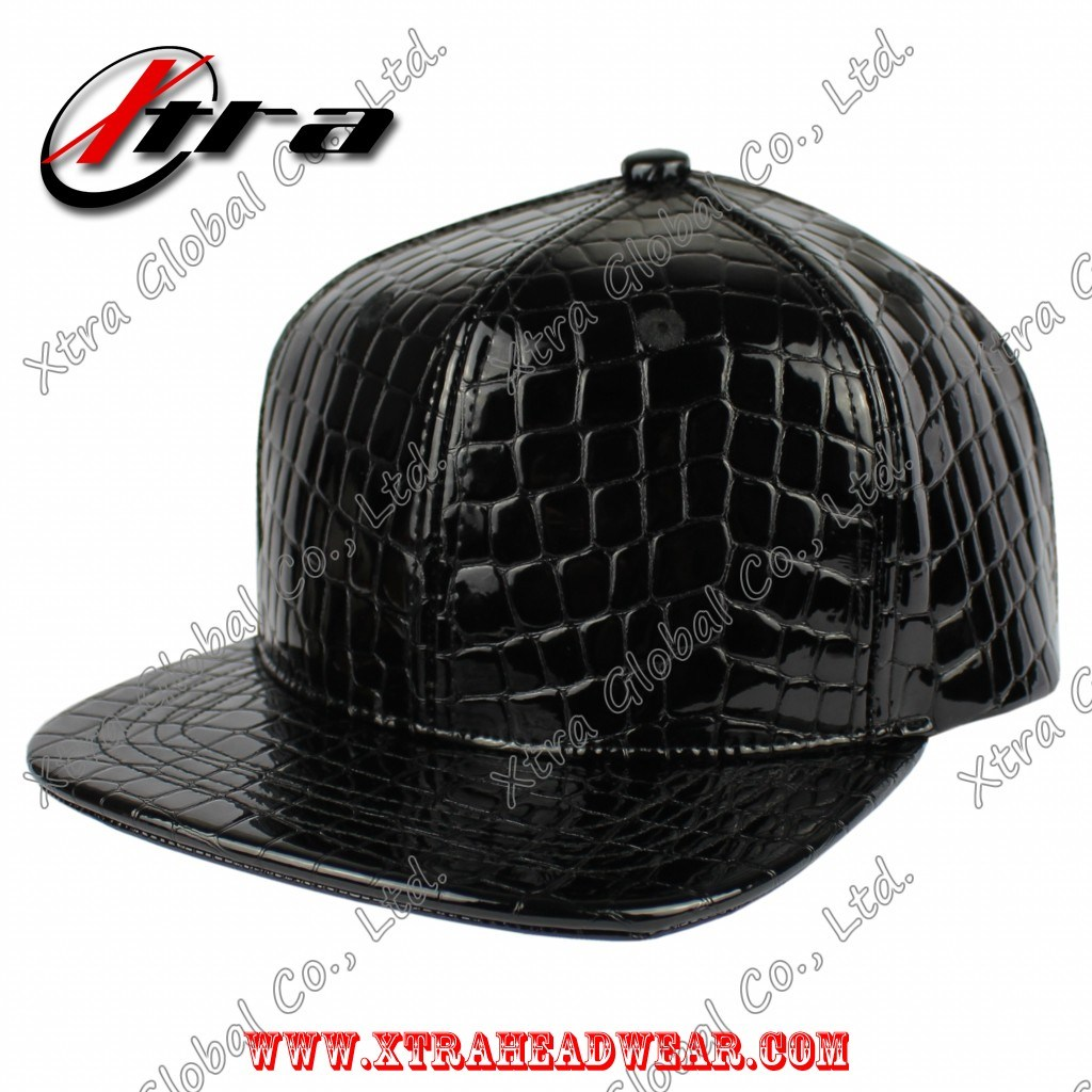Blank Crocodile Skin Blink Leather Flat Peak Hat