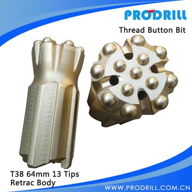 T38/T45/T51 Steel Skirt/Carbide Thread Retrac Button Bit for Top Hammer