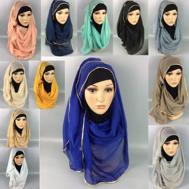 Muslin Cotton Scarf Shawl Gold Edge Muslim Hijab Head Covering Scarf