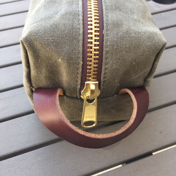Waxed Canvas Dopp Kit with Leather Handle