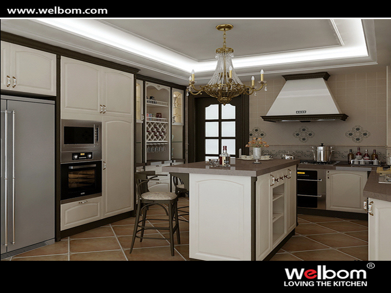 Newstyle Classical White Vinyl Wrap Kitchen Furniture