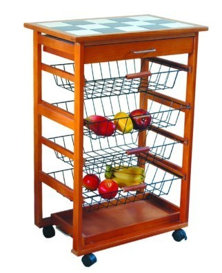 China Wooden Kitchen Cart With Metal Basket Ht2026 China Kitchen Furniture Wooden Kitchen Cart