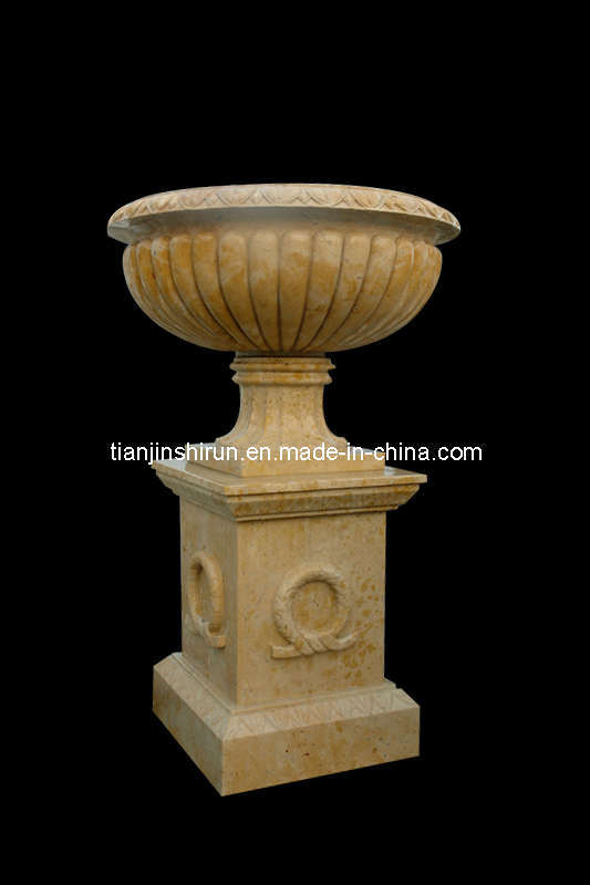 Marble Urn Vase on Base, Flowerpot (VS344)