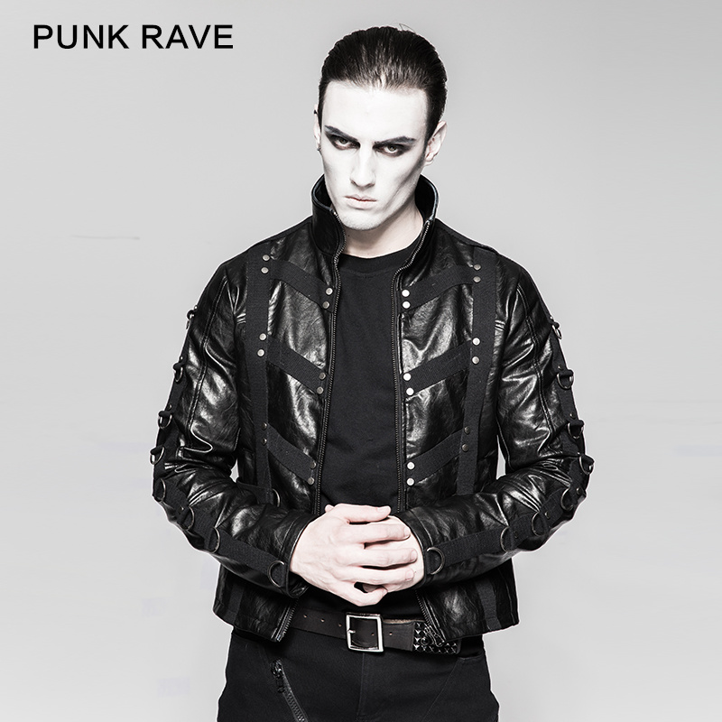 Unique Design Heavy Punk Black High Collar Short Leather Jackets (Y-764)