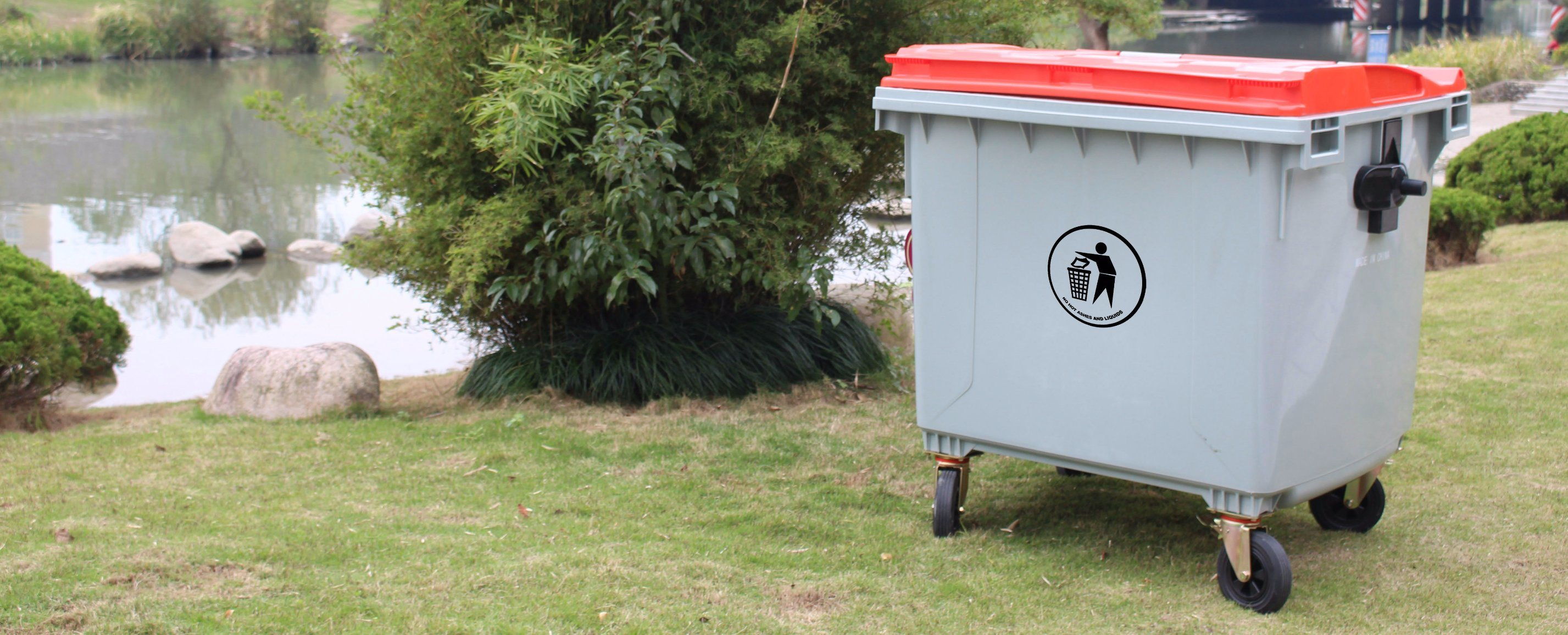 1100L Eco-Friendly Plastic Waste Bin with Two Wheels
