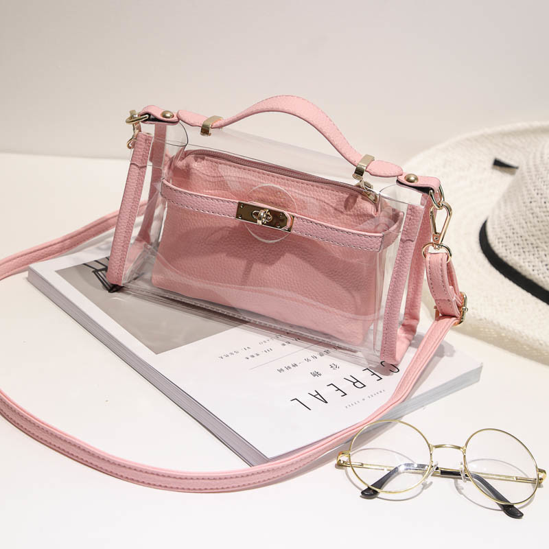 2017 New Cherry Transparent Bag Set Fashion PU Ladies Crossbody Bag Hcy-5072