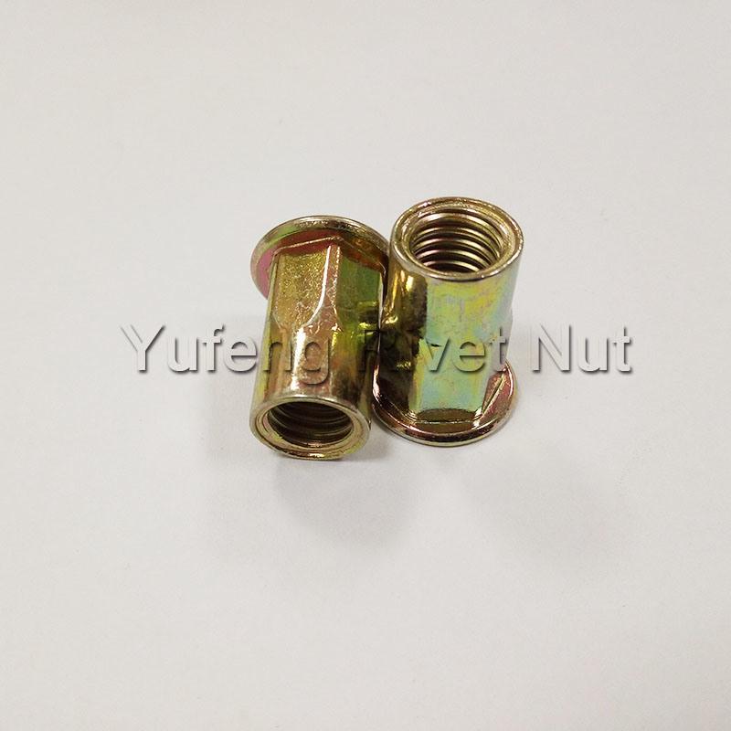 Yellow Zinc Plating Flat Head Rivet Nut with Half Hexagon Body