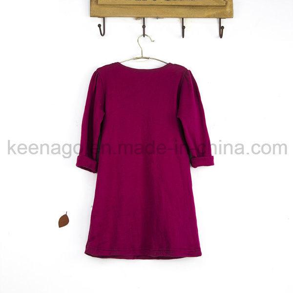High Quality Organic Cotton Fashion Princess Long Sleeve Beads Girl Dress